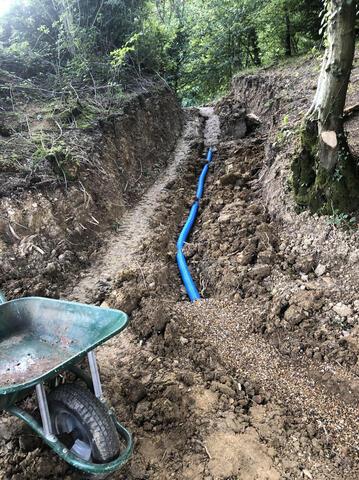 Water mains pipework underneath footpath