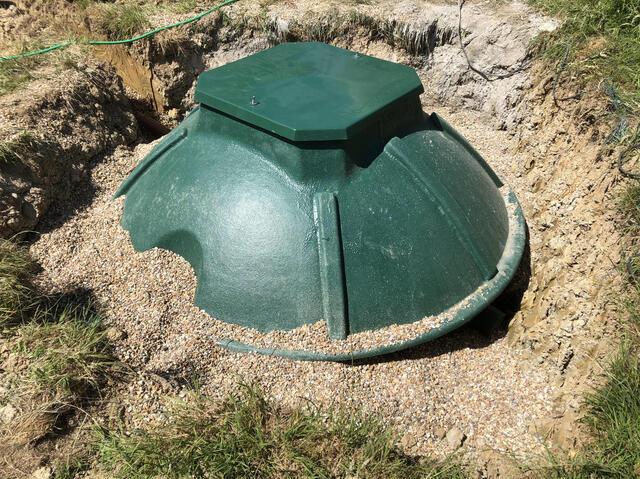 Sewage Treatment Plant backfilled with pea shingle