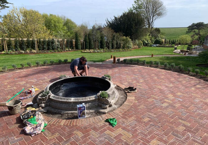 Repairing a leaking Haddonstone pond in Eastbourne
