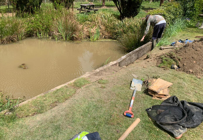 Rebuilding the banks of a large garden pond
