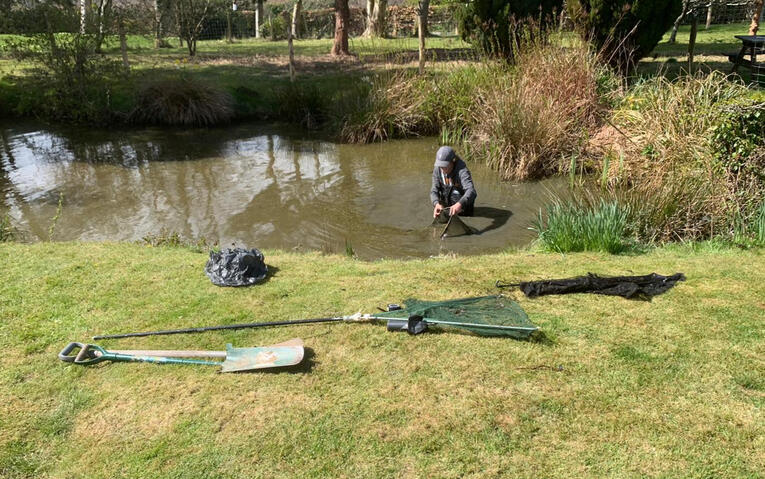 Deep cleaning of a large pond in the Heathfield area