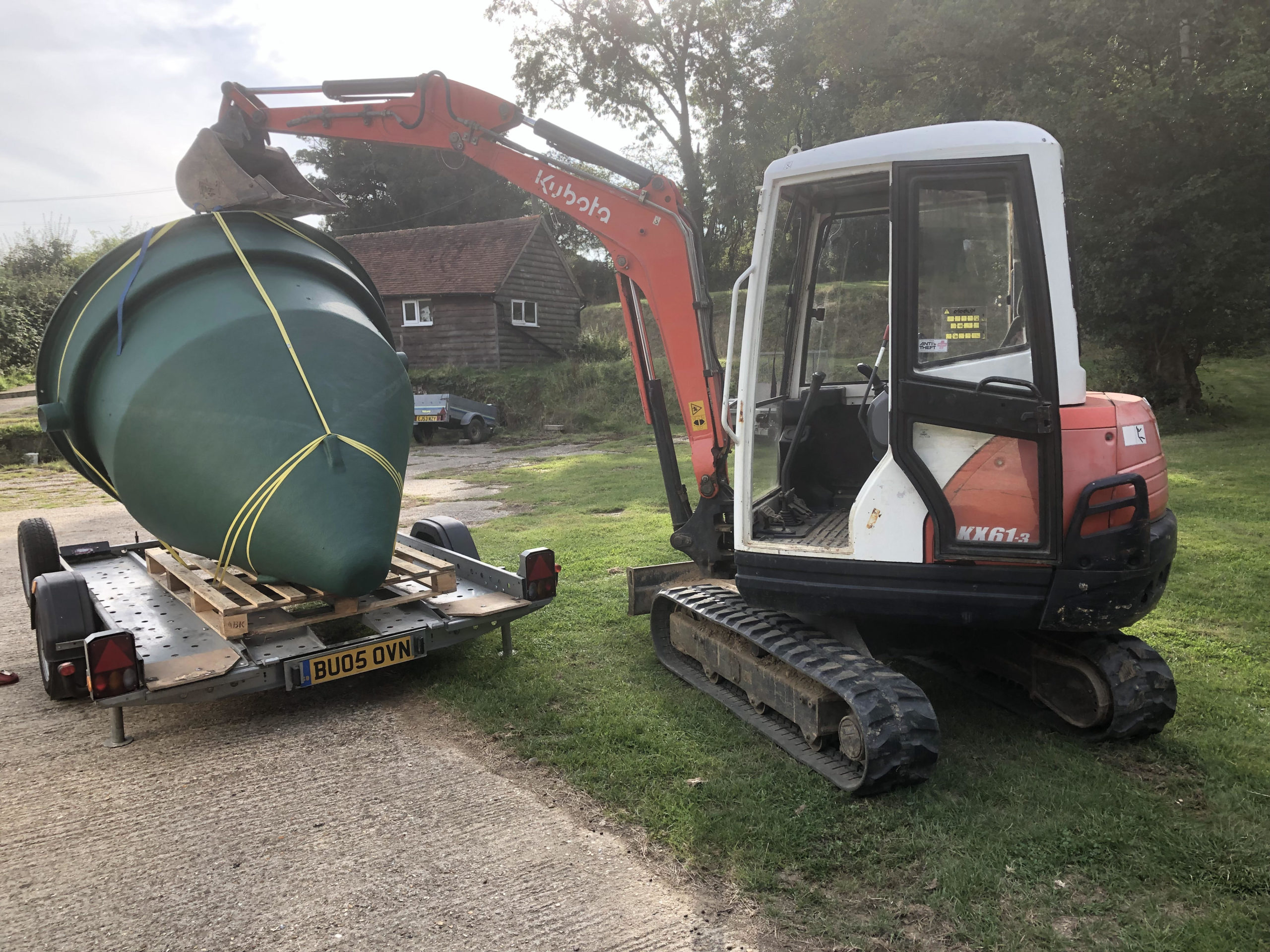 loading up biopure sewage treatment plant for installation in east sussex