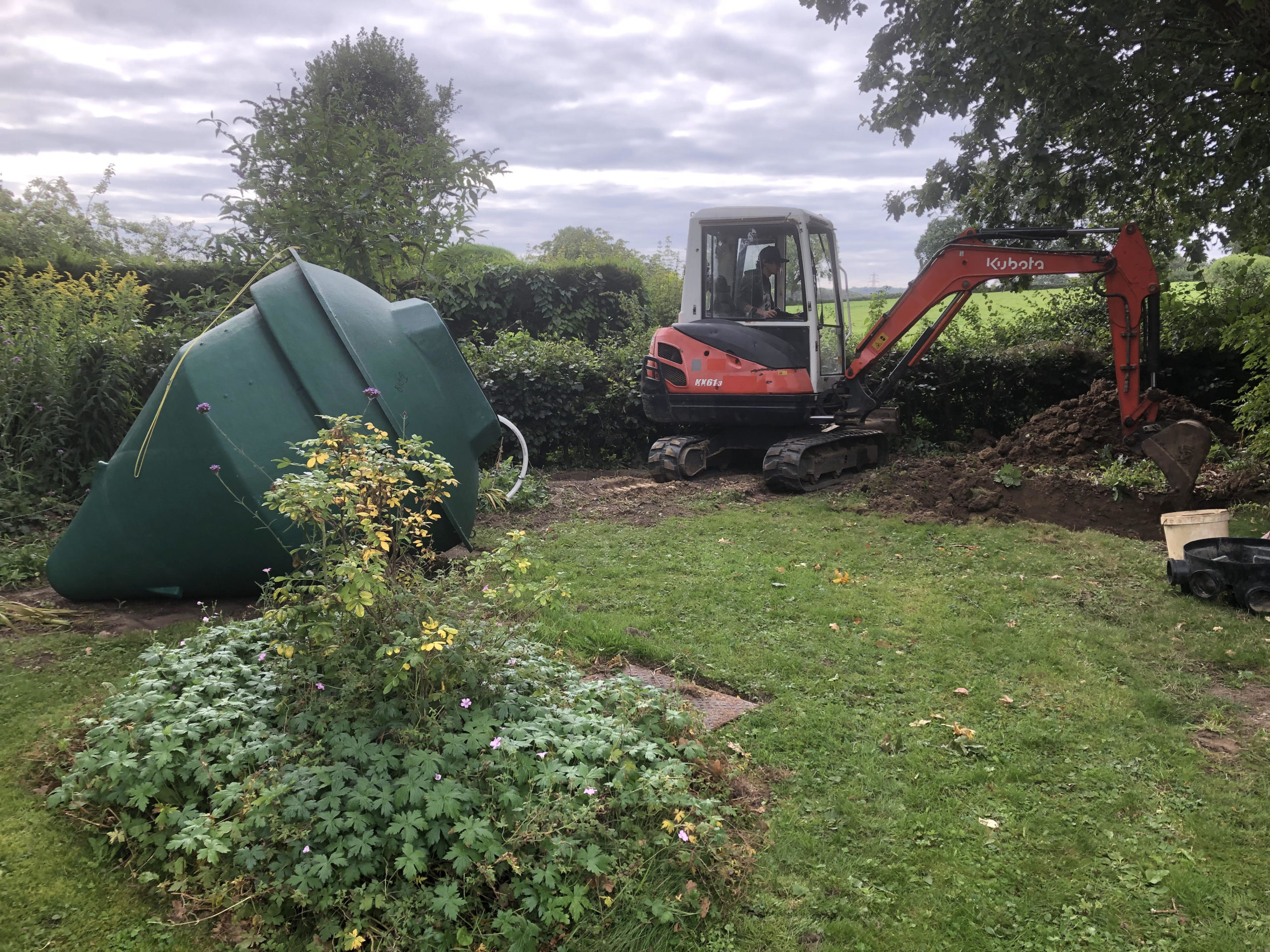 sewage treatment plant installation east sussex starting to dig