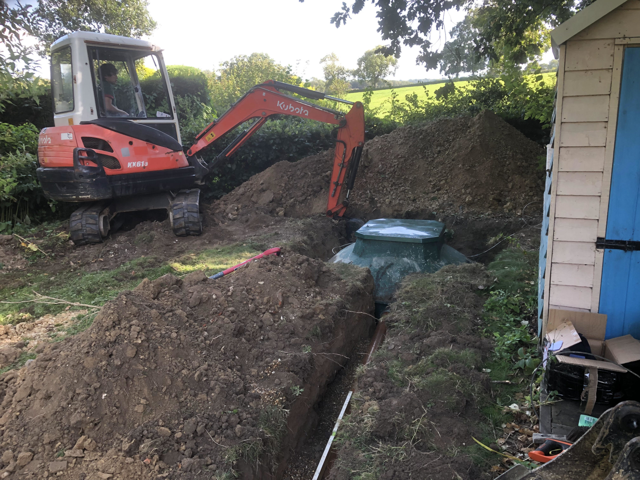 biopure sewage treatment plant installation east sussex with inlet pipework