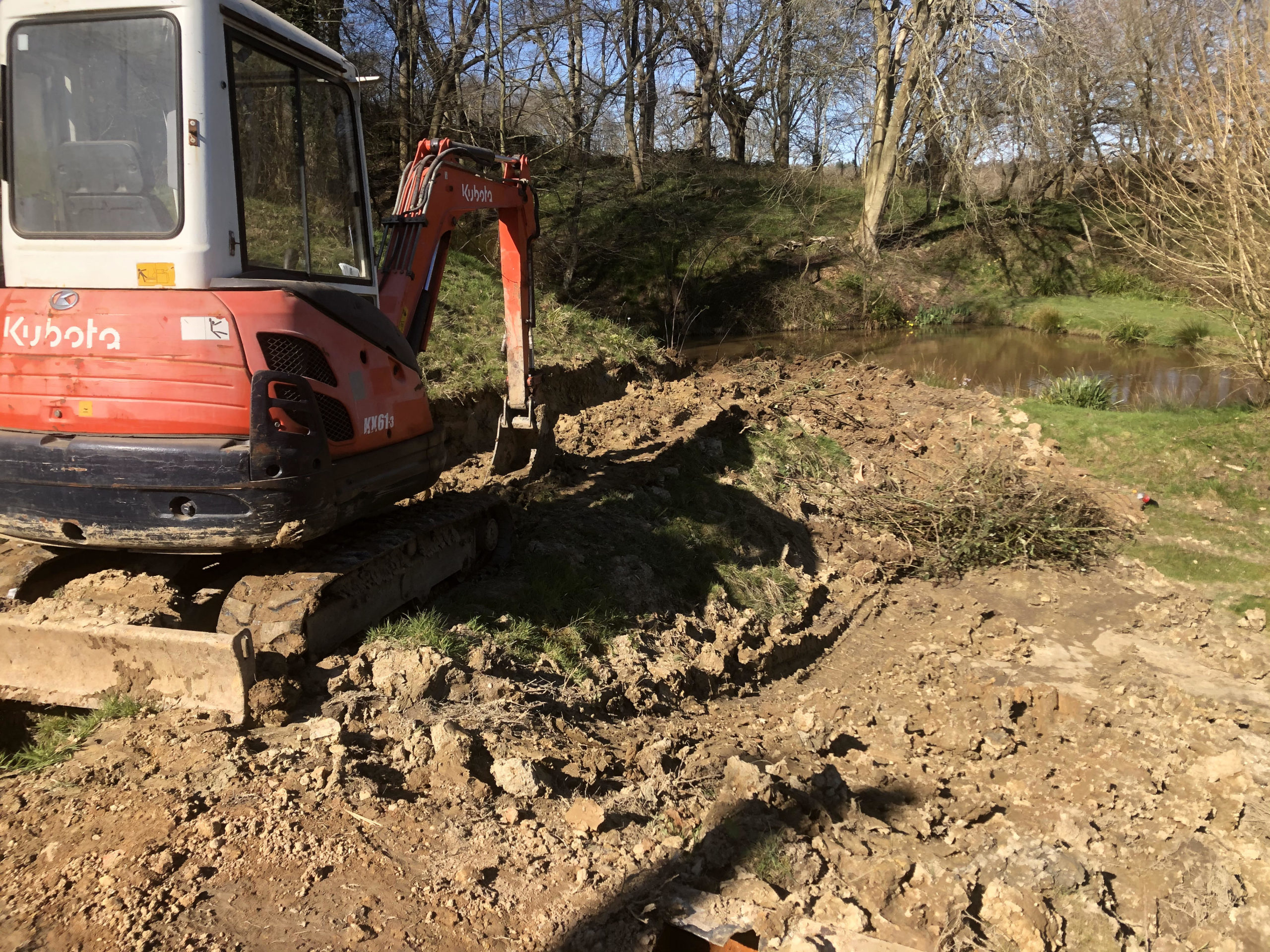 kubota 3t digger levelling area in east sussex