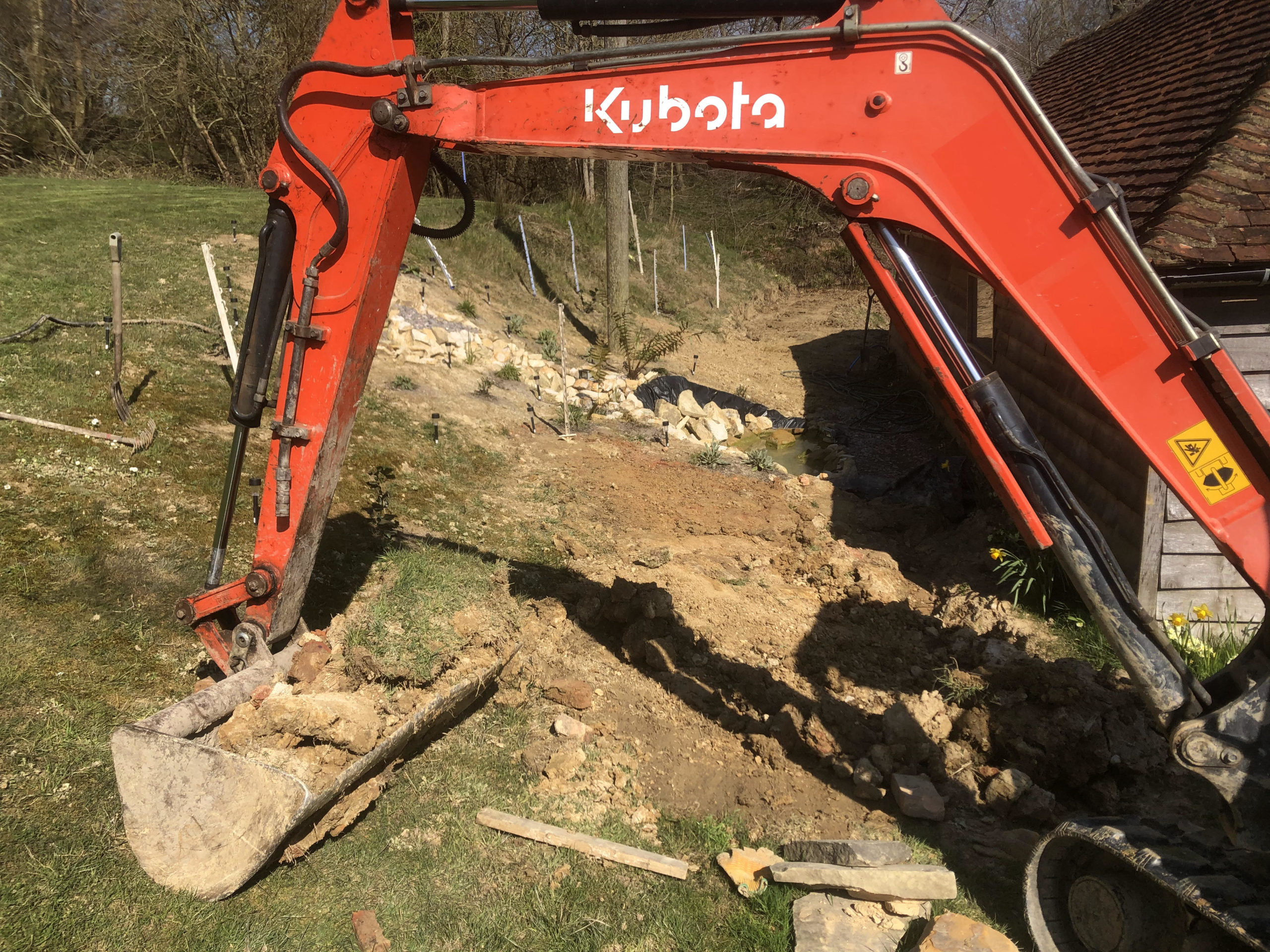 kubota 3t digger excavating waterfall location east sussex
