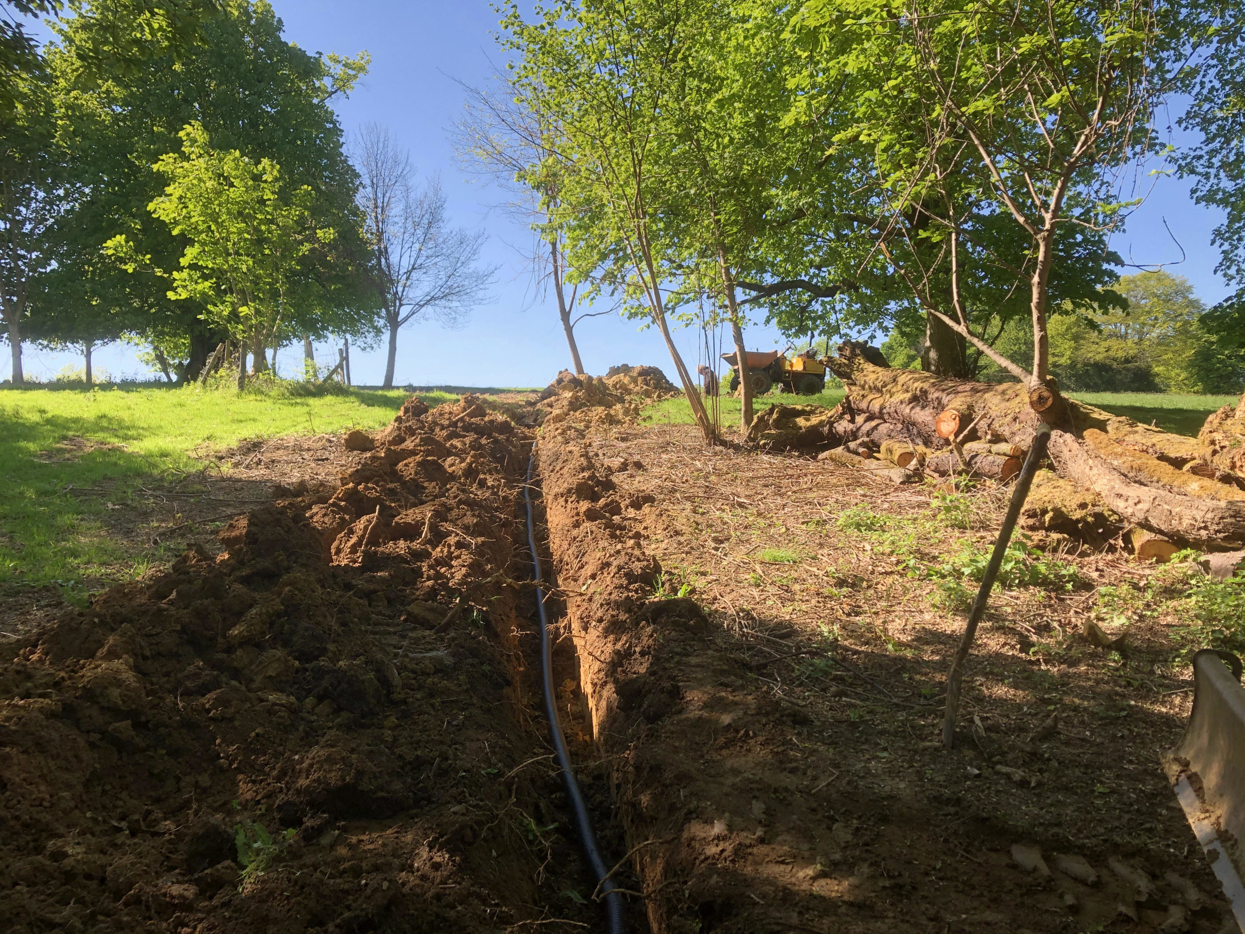 water mains pipework installation across fields in east sussex