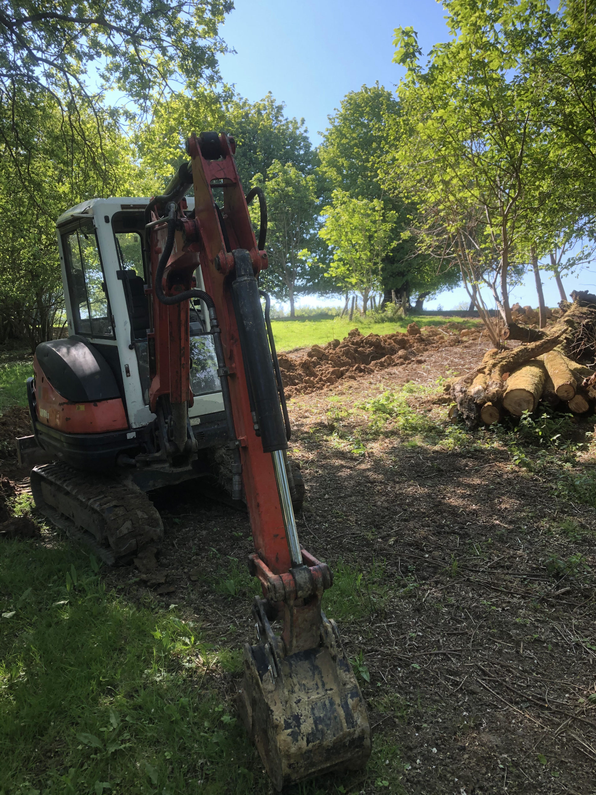water mains pipework installation across fields in east sussex with kubota 3t