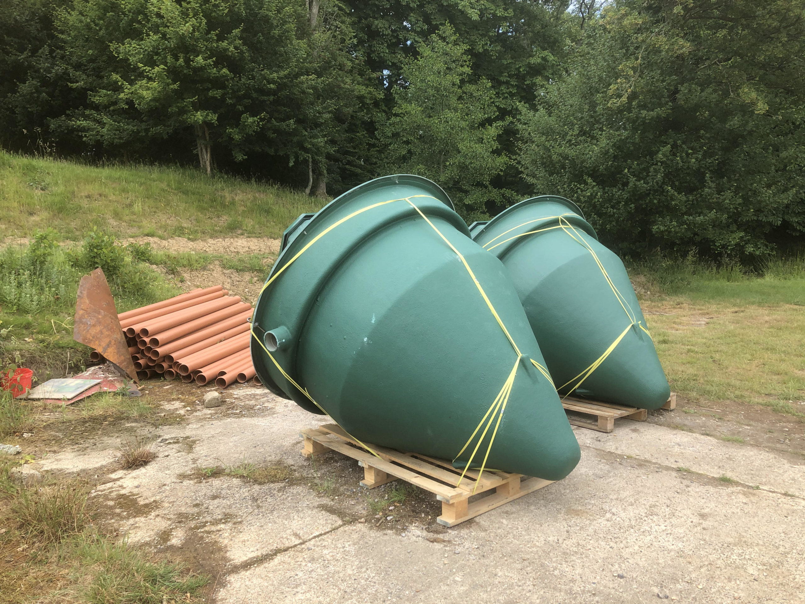 delivery of new biopure sewage treatment plants ready for installation in east sussex
