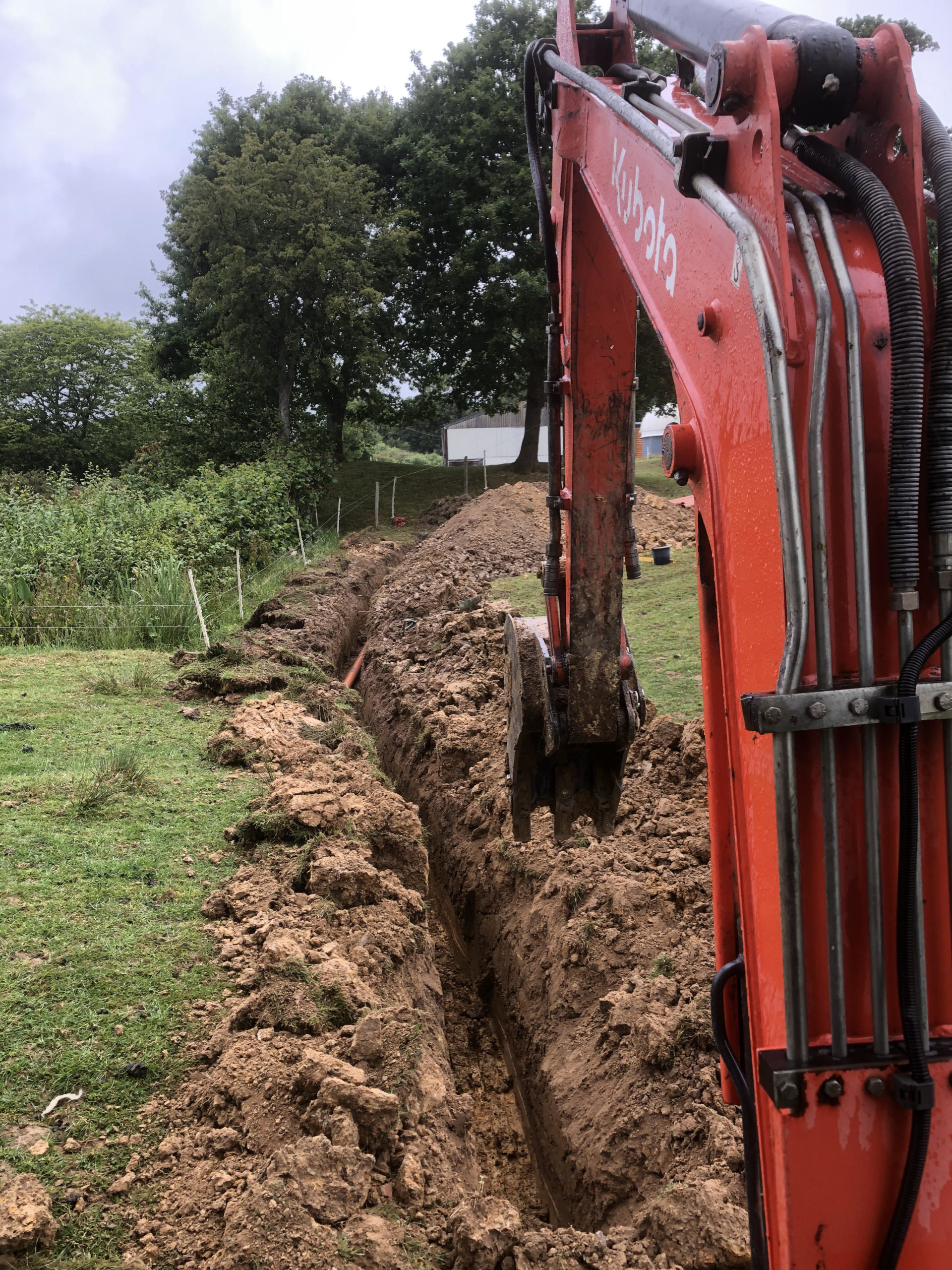 biopure sewage treatment plant installation in east sussex inlet pipework trench