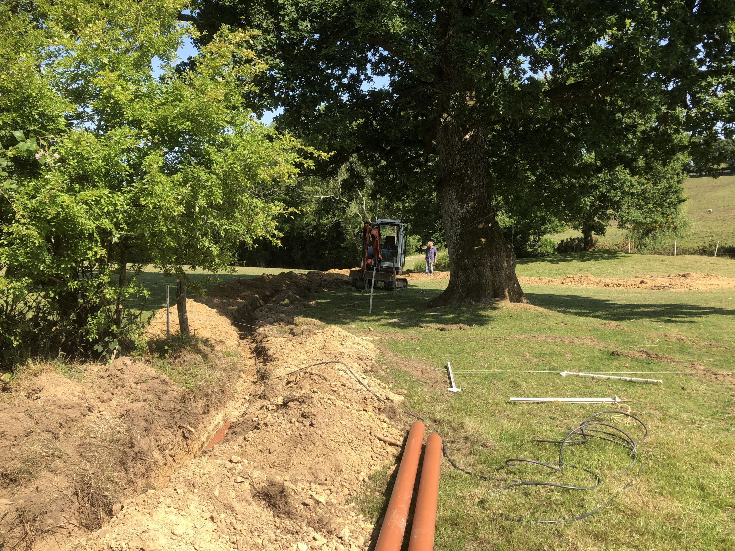 biopure sewage treatment plant installation east sussex inlet pipework trench