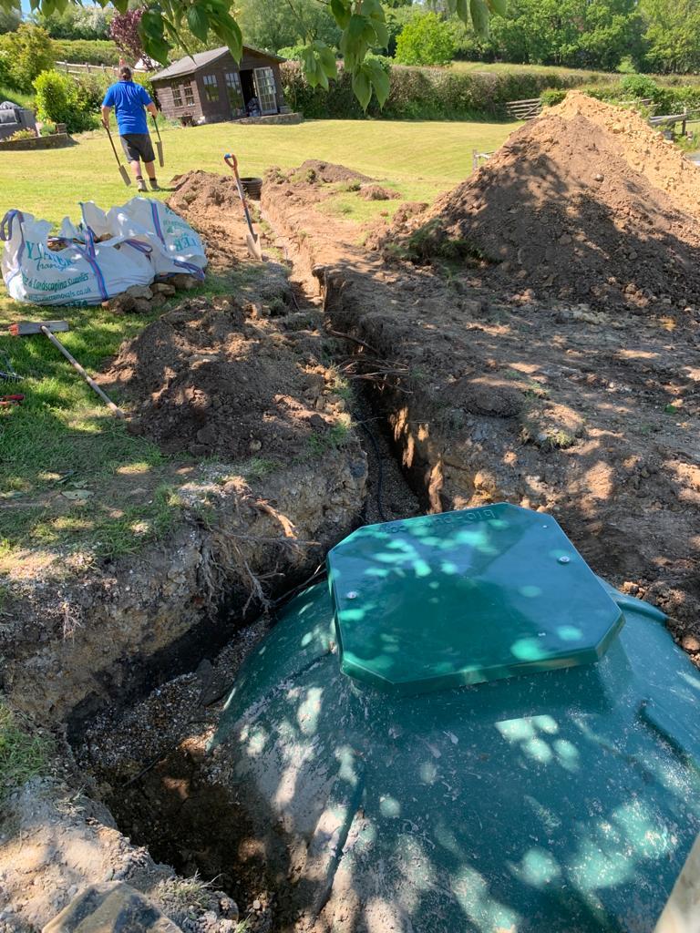 BioPure 3 Gravity sewage treatment plant installation in Burwash inlet pipework