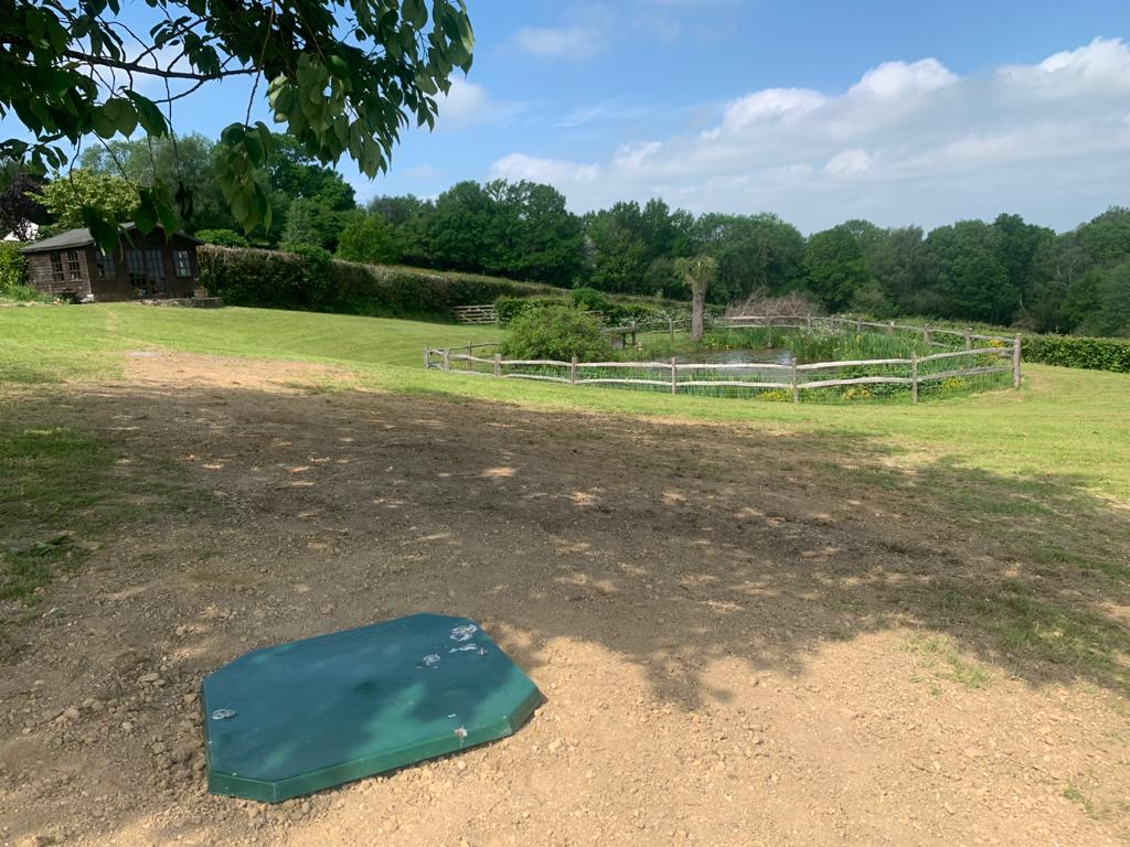 BioPure 3 Gravity sewage treatment plant installation in East Sussex landscaping