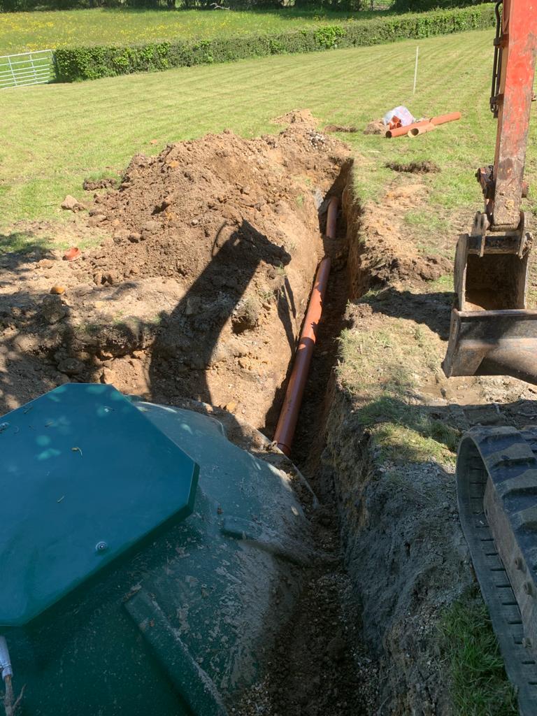 BioPure 3 Gravity sewage treatment plant installation in Burwash outlet
